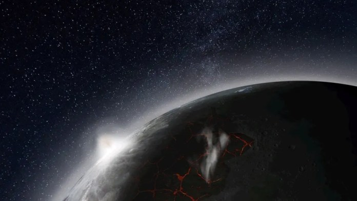 An artist's impression of Earth's moon shows lavas erupting, venting gases and producing a visible atmosphere.