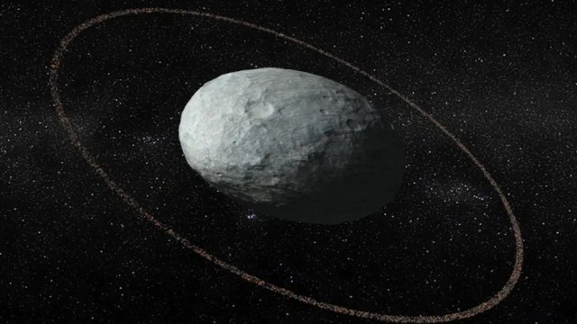 A picture of Haumea, an oblong-shaped dwarf planet with rings around it. (Credit: IAA-CSIC/UHU)