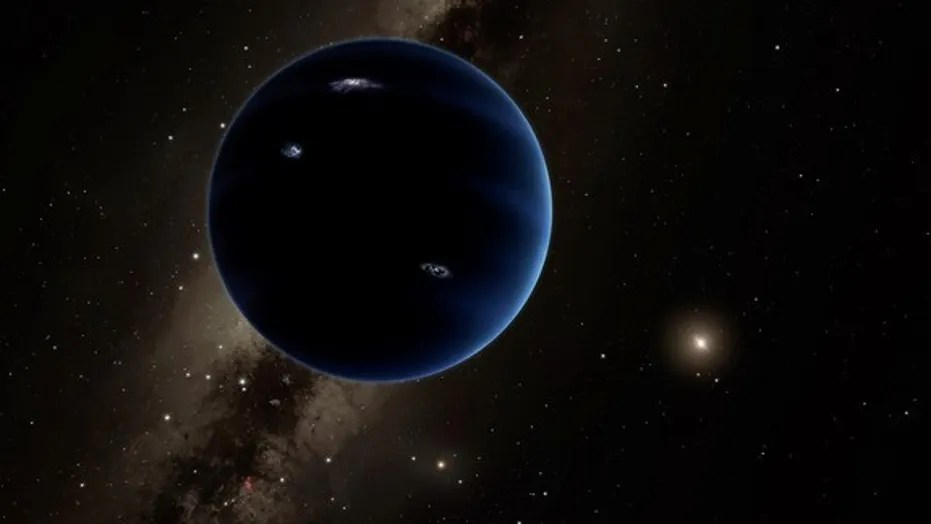 "Artist illustration of ""Planet Nine,"" a hypothetical world about 10 times more massive than Earth."
