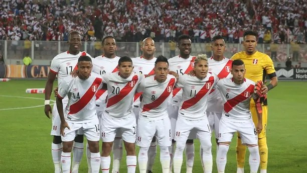 FILE - In this Wednesday, Nov. 15, 2017 filer Peru team poses for a photo prior to a World Cup play-off qualifying match against New Zealand in Lima, Peru. (AP Photo/Karel Navarro, File)