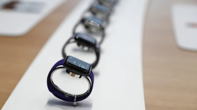 File photo: Apple Watches are displayed during a launch event in Cupertino, California, U.S. September 12, 2017. (REUTERS/Stephen Lam)