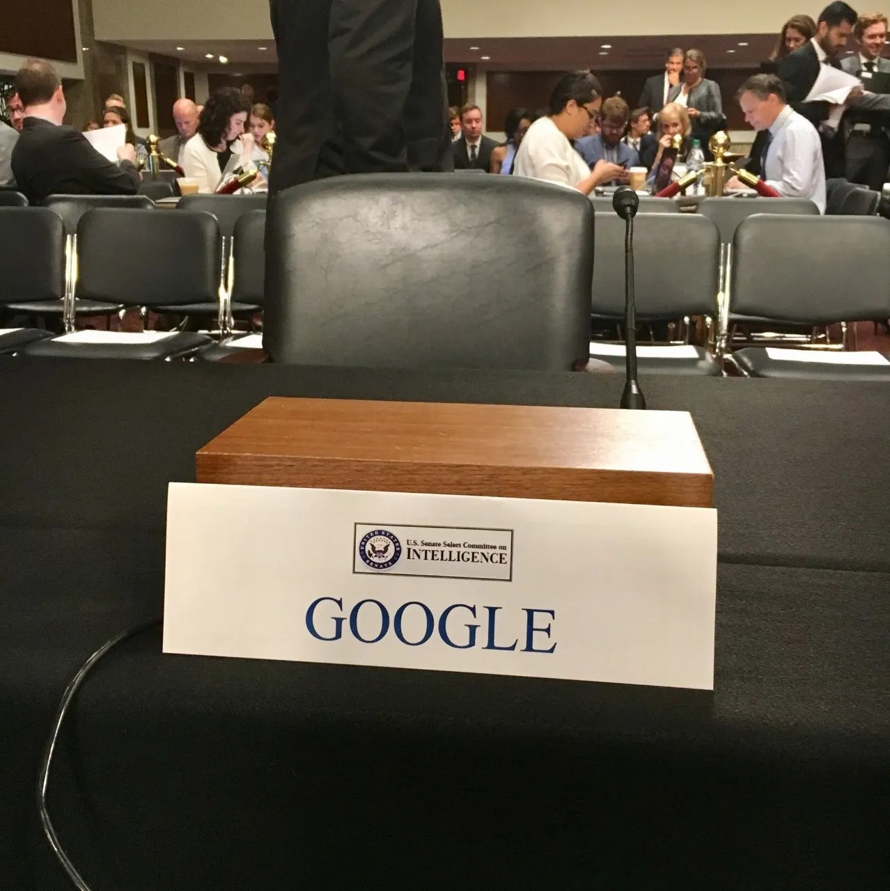 Google Chair Google Gets Empty Chair Treatment At Senate Intel Hearing