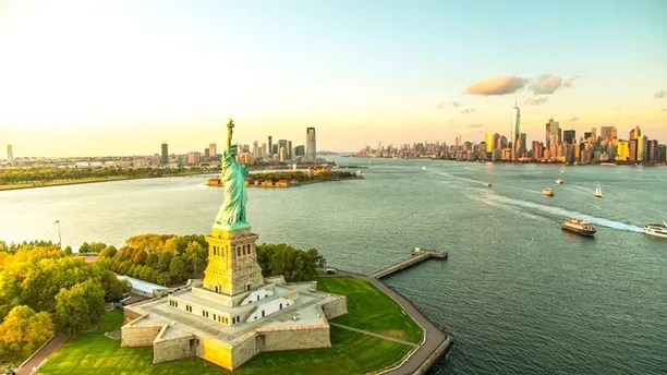 Aerial View of Liberty Island, New York