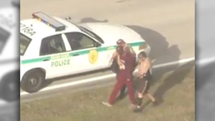 A man was detained Monday after he was spotted running around the tarmac of Miami International Airport.