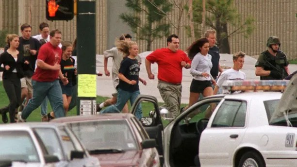 """April 20, 1999: Two heavily armed teenagers Eric Harris and Dylan Klebold go on a rampage at Columbine High School in Littleton, Colorado, shooting 12 students and a teacher to death and wounding more than 20 others before taking their own lives. REUTERS/Gary Caskey/File Photo           FROM THE FILES PACKAGE - SEARCH """"MASS SHOOTINGS FILES"""" TO FIND ALL IMAGES - RTX2FV8T"""