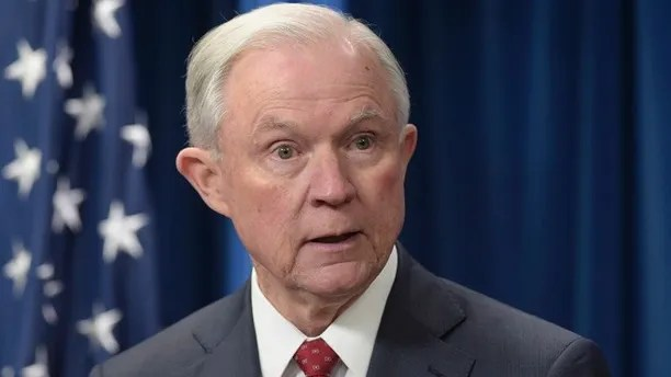 """FILE - In this March 6, 2017, file photo, Attorney General Jeff Sessions speaks at the U.S. Customs and Border Protection office in Washington. The Justice Department says Sessions recused himself from the Russia investigation only because he was involved in President Donald Trump's campaign. In a statement on June 8, spokesman Ian Prior says """"it was for that reason, and that reason alone"""" that Sessions decided to step aside from the probe. The statement doesn't mention Sessions' undisclosed contacts with Russia's ambassador. (AP Photo/Susan Walsh, File)"""