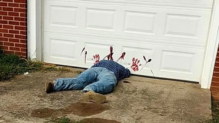 "Greene County Sheriff's Department said the ""body"" is really a Halloween decoration."