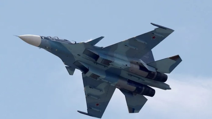 A Russian Sukhol Su-30SM fighter performs during a demonstration outside Moscow.