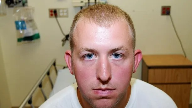 Police officer Darren Wilson during his medical examination after he fatally shot Michael Brown, in Ferguson, Mo.