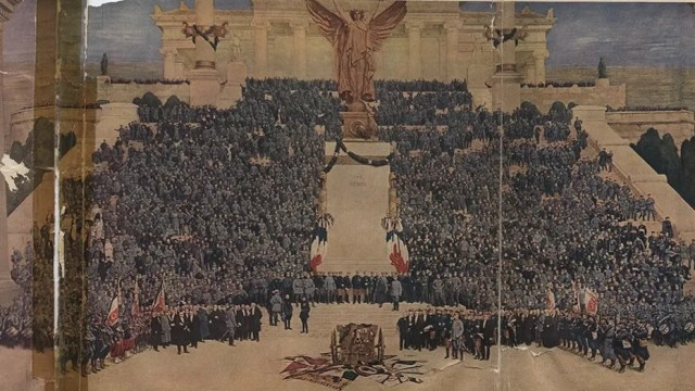 Another scene from the original work. MacMorris said it contained more than 3,000 actual portraits of French military men.