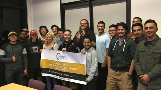 "Members of California State University's Turning Point USA chapter. The student organization was reportedly called a ""white supremacist"" group by left-leaning campus activists."