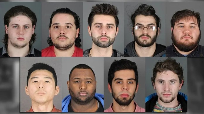 Nine men were arrested at a State University of New York school Wednesday for alleged hazing and animal cruelty.