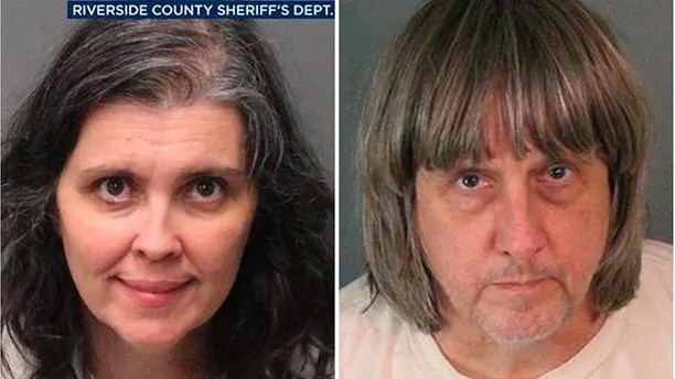 These Sunday, Jan. 14, 2018, photos supposing by a Riverside County Sheriff's Department uncover Louise Anna Turpin, left, and David Allen Turpin. Authorities contend an svelte teen led deputies to a Perris, Calif., home where her 12 brothers and sisters were sealed adult in dirty conditions, with some of them malnourished and cumulative to beds. Riverside County sheriff's deputies arrested a relatives David Allen Turpin and Louise Anna Turpin on Sunday. The relatives could face charges including woe and child endangerment. (Riverside County Sheriff's Department around AP)