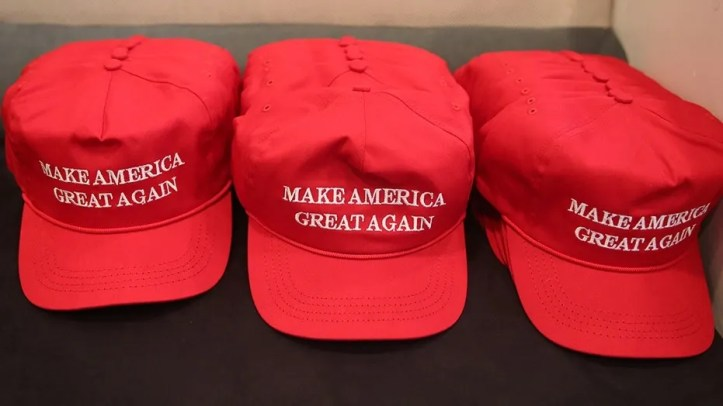 "Donald Trump ""Make America Great Again"" hats in New York City's Trump Tower."