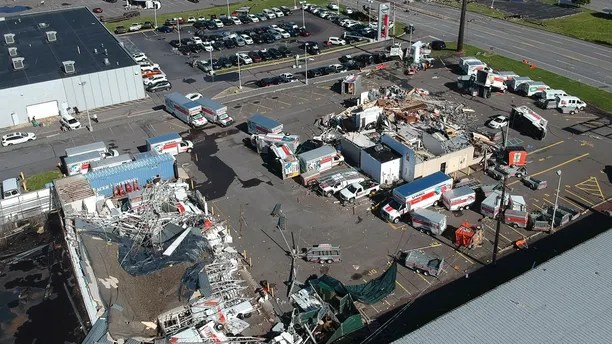 This aerial photo taken on Thursday, June 14, 2018 shows damage after Wednesday's severe weather system passed through Wilkes-Barre Township, Pa.  National Weather Services teams were traveling to two counties in northeast Pennsylvania to determine if tornados touched down as part of a severe weather system that destroyed homes, stores and cars and left at least six people injured.   (AP Photo/Jimmy May)