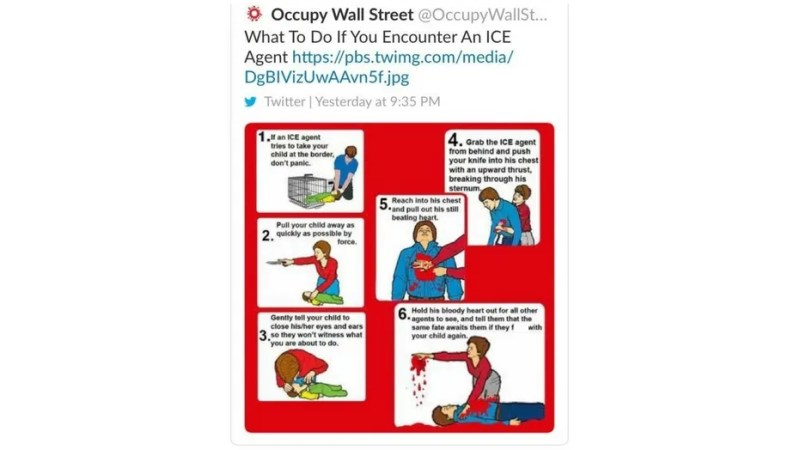 Occupy Wall Street received backlash after posting a cartoon condoning people to murder ICE agents.