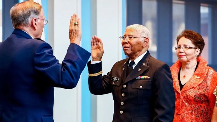 World War II veteran John Edward James, Jr., was commissioned as an officer of the U.S. Army on Friday — 75 years after he was denied status due to the color of his skin.