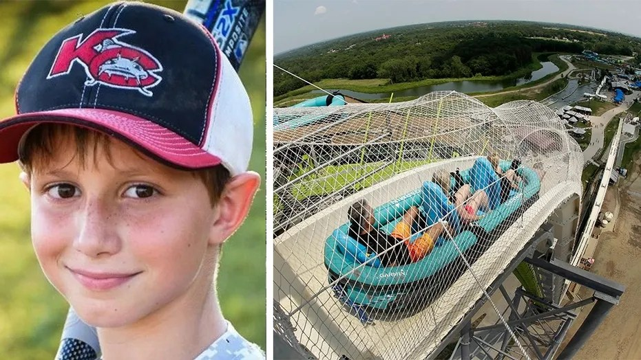 Caleb Schwab, left, was decapitated while riding the Verruckt water slide at Schlitterbahn Kansas City in August 2016.
