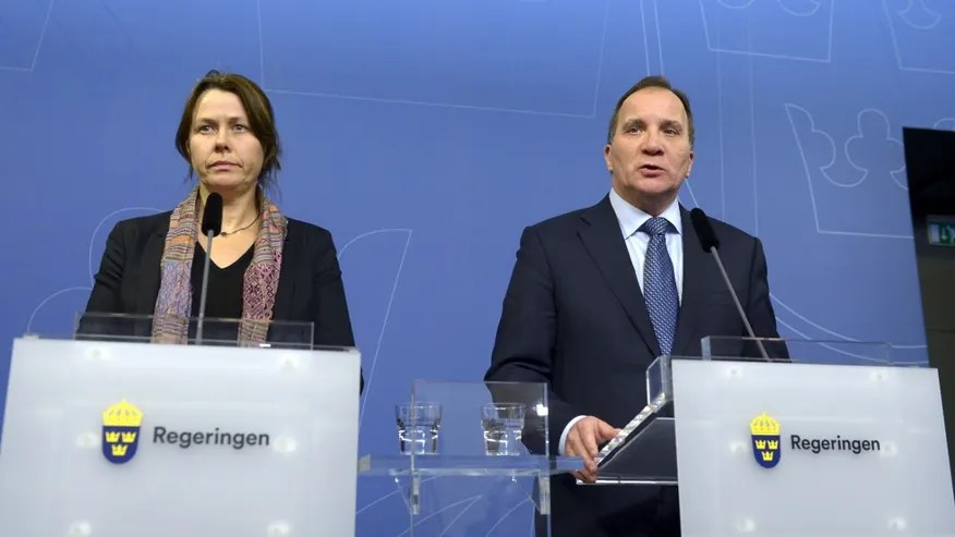 Nov. 24, 2015: Sweden Prime Minister Stefan Lofven (R) and Deputy Prime Minister Asa Romson (L) present stricter rules for refugees seeking asylum in Sweden, during a news conference at the government headquarters in Stockholm.