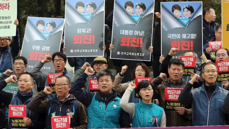 Image result for scandal unites rival koreas in fury at south korea's leader