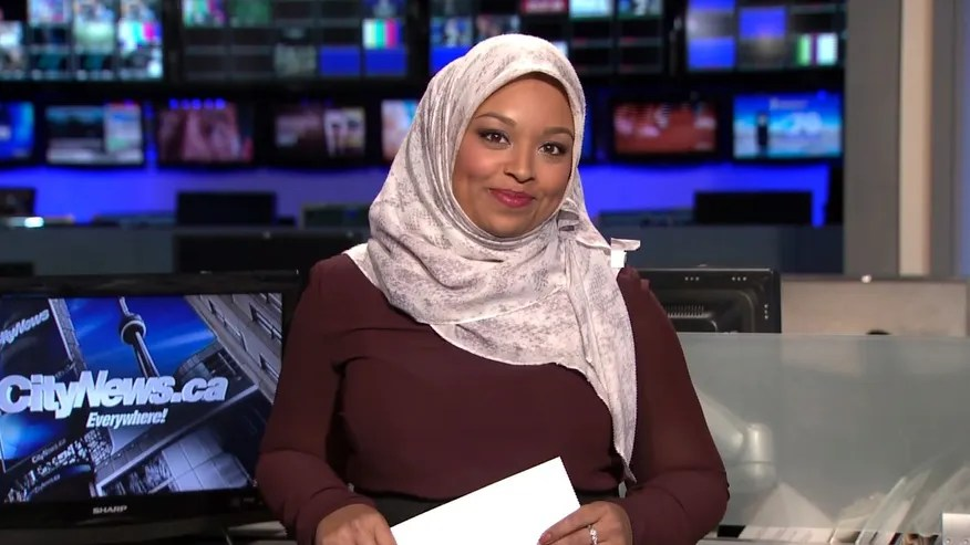 Ginella Massa, a Toronto TV reporter who is believed to be Canada's first anchor to don a Muslim head scarf at one of the city's major news broadcasters.