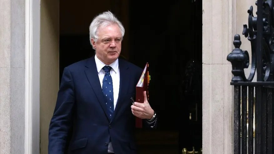 David Davis, Britain's Secretary of State for Exiting the European Union, leaves after a cabinet meeting in 10 Downing Street, London, Wednesday March 29, 2017. Britain will begin divorce proceedings from the European Union later on March 29, starting the clock on two years of intense political and economic negotiations that will fundamentally change both the nation and its European neighbors. (AP Photo/Alastair Grant)