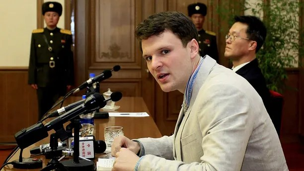 American student Otto Warmbier speaks as Warmbier is presented to reporters Monday, Feb. 29, 2016, in Pyongyang, North Korea. North Korea announced late last month that it had arrested the 21-year-old University of Virginia undergraduate student.  (AP Photo/Kim Kwang Hyon)