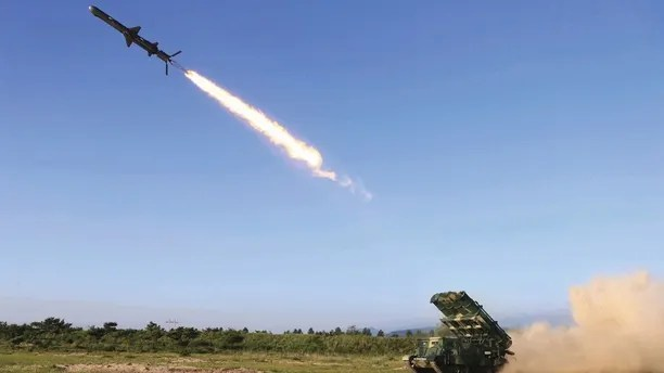 """This undated photo distributed on Friday, June 9, 2017, by the North Korean government, shows a test of a new type of cruise missile launch at an undisclosed location in North Korea. Independent journalists were not given access to cover the event depicted in this image distributed by the Korean Central News Agency via Korea News Service. North Korea said Friday it has test-launched a new type of cruise missile capable of striking U.S. and South Korean warships """"at will,"""" as South Korea found a suspected North Korean drone near the tense border between the rivals. (Korean Central News Agency/Korea News Service via AP)"""