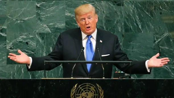 U.S. President Donald Trump addresses the 72nd United Nations General Assembly at U.N. headquarters in New York, U.S., September 19, 2017. REUTERS/Lucas Jackson - HP1ED9J17VGSO