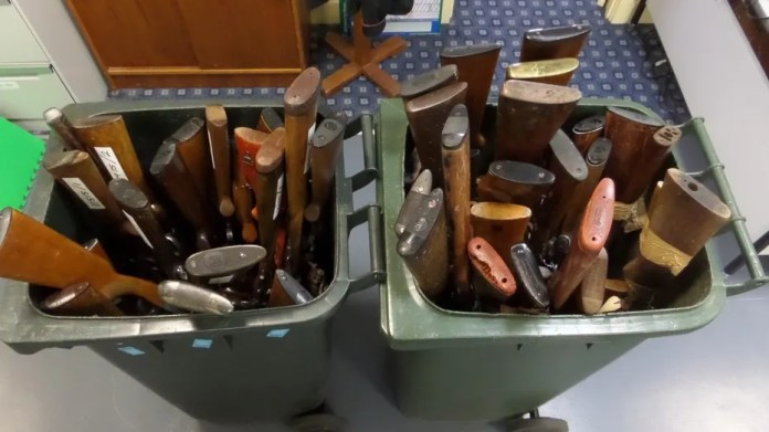 The guns pictured are some of those collected during Australia's national firearm amnesty program. Early numbers suggest more than 30,000 weapons were handed in over the course of three months.