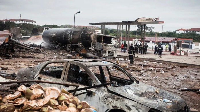 A tanker explosion at a gas-filling station in Ghana on Saturday killed at least seven people, officials said.