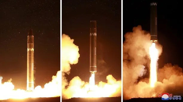 A view of the newly developed intercontinental ballistic rocket Hwasong-15's test was successfully launched is seen in this undated photo released by North Korea's Korean Central News Agency (KCNA) in Pyongyang November 30, 2017. REUTERS/KCNA ATTENTION EDITORS - THIS IMAGE WAS PROVIDED BY A THIRD PARTY. REUTERS IS UNABLE TO INDEPENDENTLY VERIFY THIS IMAGE. SOUTH KOREA OUT. NO THIRD PARTY SALES. NOT FOR USE BY REUTERS THIRD PARTY DISTRIBUTORS - RC1EB30BF200