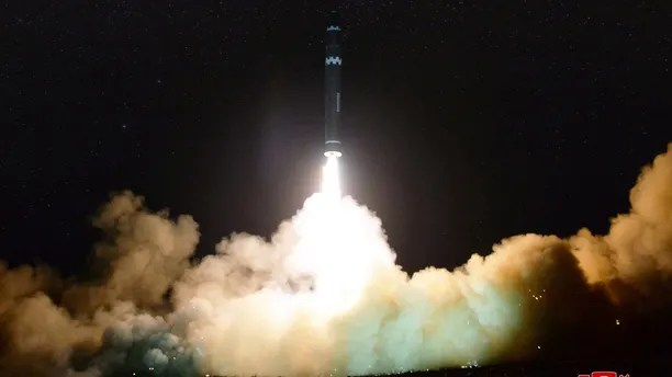 A view of the newly developed intercontinental ballistic rocket Hwasong-15's test that was successfully launched is seen in this undated photo released by North Korea's Korean Central News Agency (KCNA) in Pyongyang November 30, 2017. REUTERS/KCNA ATTENTION EDITORS - THIS IMAGE WAS PROVIDED BY A THIRD PARTY. REUTERS IS UNABLE TO INDEPENDENTLY VERIFY THIS IMAGE. SOUTH KOREA OUT. NO THIRD PARTY SALES. NOT FOR USE BY REUTERS THIRD PARTY DISTRIBUTORS - RC126BE71230