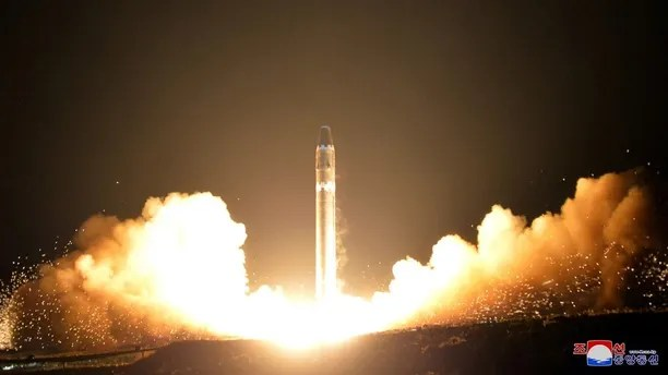 A view of the newly developed intercontinental ballistic rocket Hwasong-15's test that was successfully launched is seen in this undated photo released by North Korea's Korean Central News Agency (KCNA) in Pyongyang November 30, 2017. REUTERS/KCNA ATTENTION EDITORS - THIS IMAGE WAS PROVIDED BY A THIRD PARTY. REUTERS IS UNABLE TO INDEPENDENTLY VERIFY THIS IMAGE. SOUTH KOREA OUT. NO THIRD PARTY SALES. NOT FOR USE BY REUTERS THIRD PARTY DISTRIBUTORS - RC19B2C34FD0