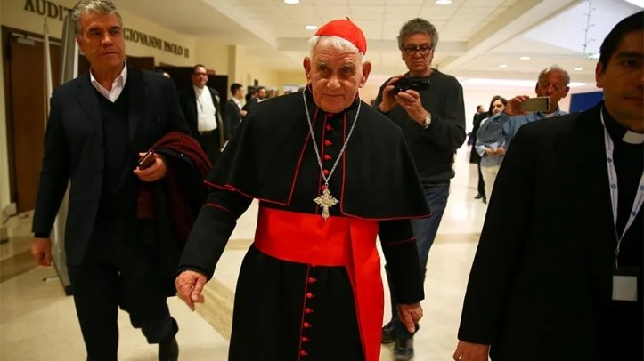 April 16, 2018: Cardinal Ernest Simoni leaves during a course for aspiring exorcists in Rome, Italy.