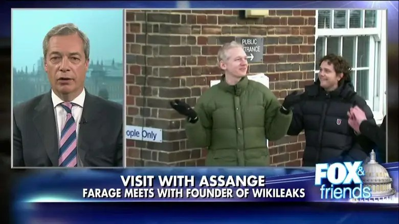 Image result for photos of nigel farage and trump and assange