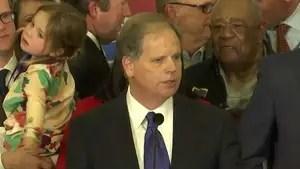 Democratic Doug Jones thanks family, staff and supporters after winning Alabama Senate race.