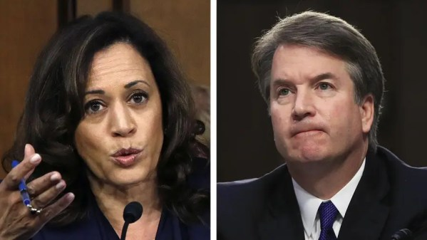 Senator Kamala Harris asks Supreme Court nominee Brett Kavanaugh if he discussed Robert Mueller's investigation with anyone at law firm founded by President Trump's personal lawyer.