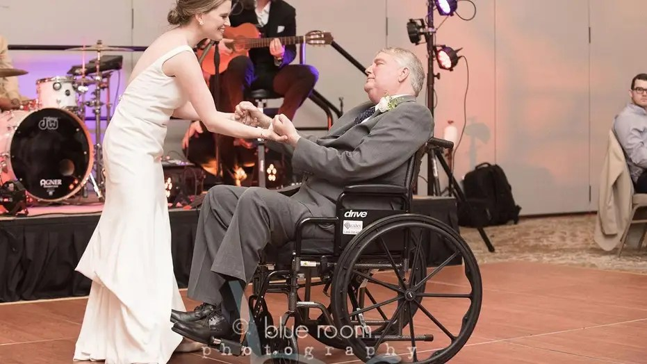 chair dance ritual song stool dream meaning bride s wedding with terminally ill dad in wheelchair goes father daughter viral