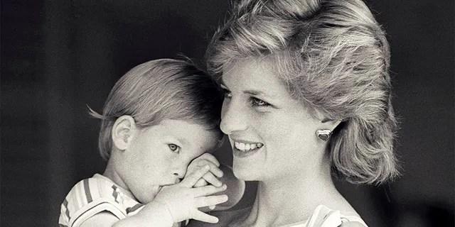 Princess Diana a young Prince Harry.