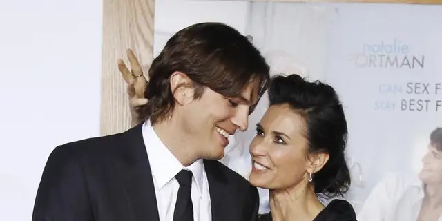Demi Moore (nee Guynes) took her professional name from her first husband, musician Freddy Moore, when they married in 1980. She later married Bruce Willis in 1987 and Ashton Kutcher (pictured) in 2005.