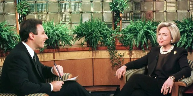 Then-first lady Hillary Clinton spoke with Matt Lauer during an interview on NBC's