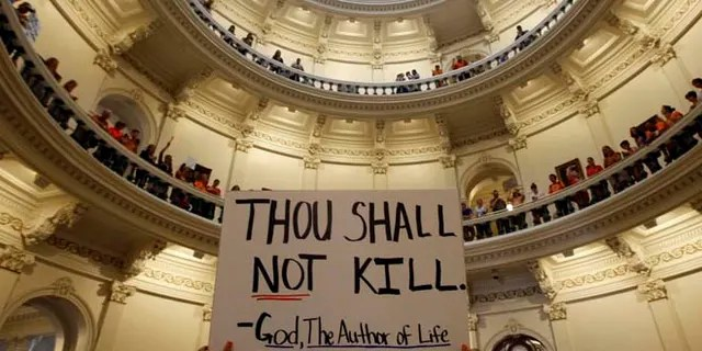 A pro-life demonstrator holds a placard inside the Texas Statehouse in Austin, July 12, 2013. (Reuters)