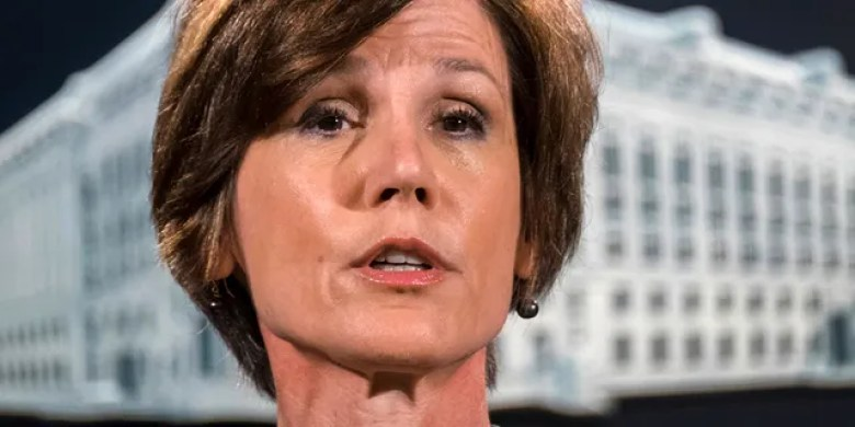 Sally Yates was removed from her position as acting attorney general after she refused to enforce President Donald Trump's travel ban.