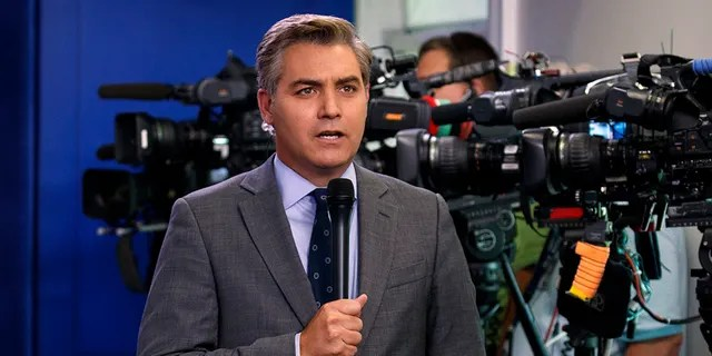 CNN's Jim Acosta has become a hero among liberals for his combative style when questioning President Trump. (AP Photo/Evan Vucci)