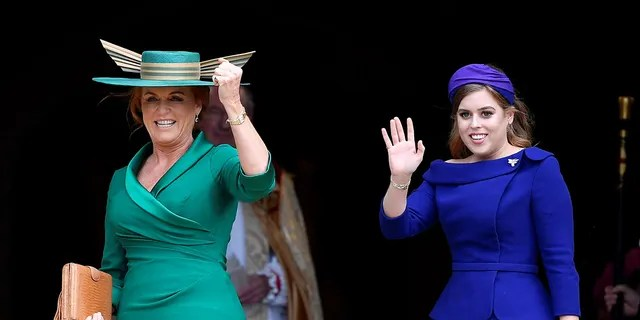 Sarah Ferguson, Duchess of York, and Princess Beatrice of York arrived for the royal wedding of Princess Eugenie and Jack Brooksbank at the Chapel of St George in Windsor Castle, Windsor, England on 12 October 2018.