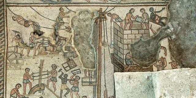 A mosaic depicting the building of the Tower of Babel.