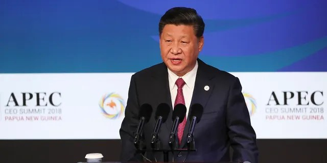 China's President Xi Jinping speaks during the APEC CEO Summit 2018 in Port Moresby, Papua New Guinea on Saturday.