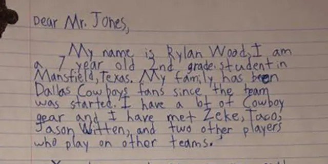 "Rylan Wood, 7, writes to Jones that his mom was very mad because ""we suck."""