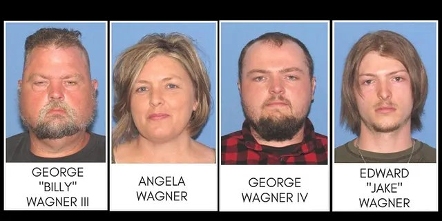 """George """"Billy"""" Wagner III, Angela Wagner, and sons George Wagner IV and Edward """"Jake"""" Wagner were arrested Tuesday."""
